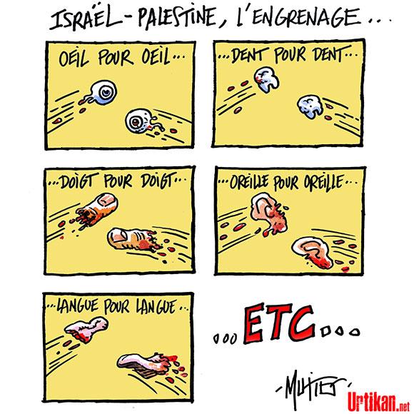 14 juillet à Gaza - Dessin de Mutio