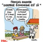 """Hollande: """"la reprise est là mais elle est trop fragile"""" - Dessin de Lasserpe"""