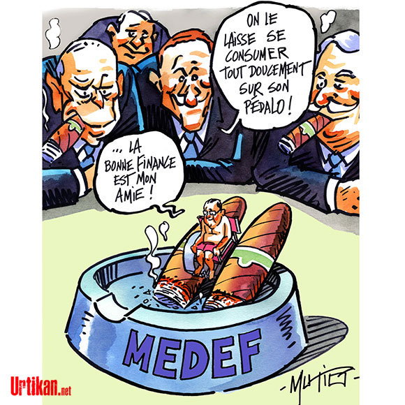 François Hollande et la finance - Dessin de Mutio