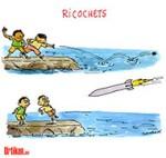 Gaza : Jeux d'enfants v/s jeux de guerre - Dessin de Cambon