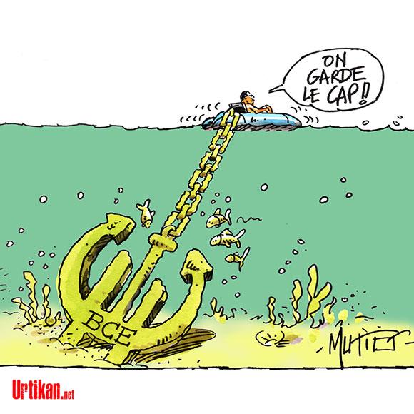 """Hollande promet des annonces : """"On maintient le cap, on force l'allure"""" - Dessin de Mutio"""