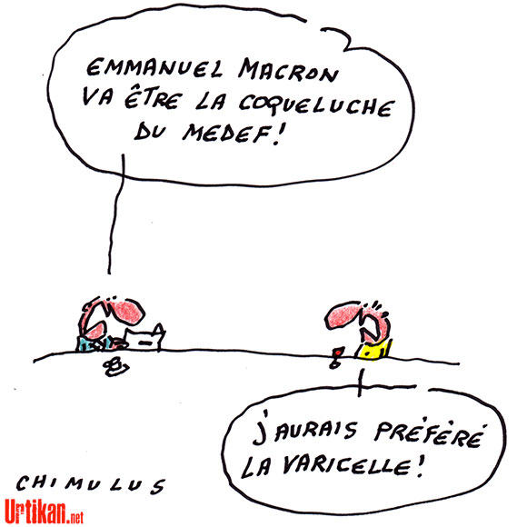 Emmanuel Macron, un ex-banquier ministre de l'Economie - Dessin de Chimulus