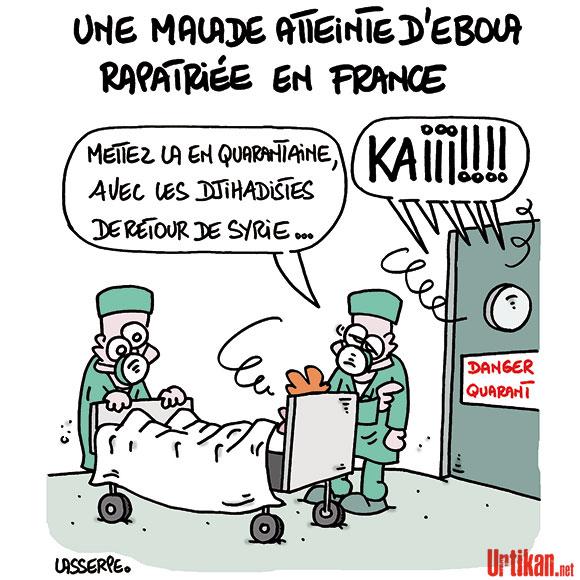 La Française infectée par Ebola est dans un état «stable» - Dessin de Lasserpe