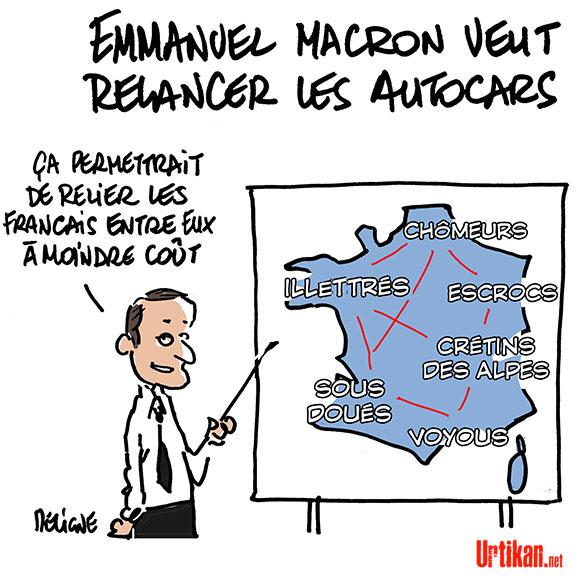 Emmanuel Macron veut relancer… les lignes d'autocars - Dessin de Deligne