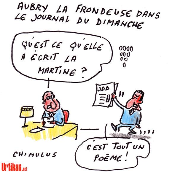 Martine Aubry prend la tête des frondeurs socialistes - Dessin de Chimulus