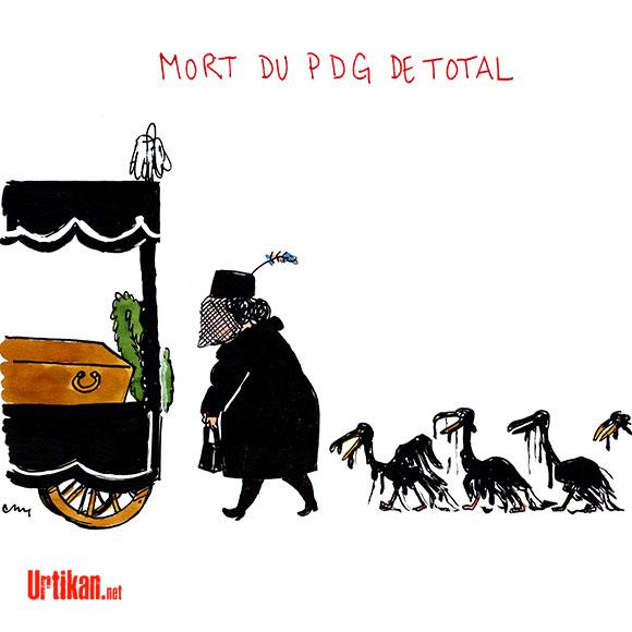 Mort du PDG de Total : Les oiseaux portaient déjà le deuil - Dessin de Cambon