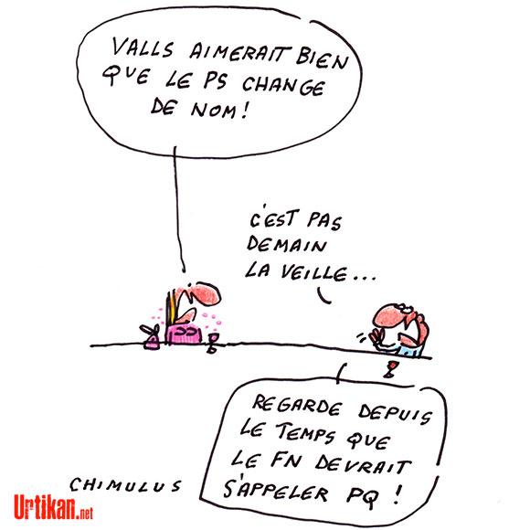 Changer le nom du PS : l'obsession de Manuel Valls - Dessin de Chimulus