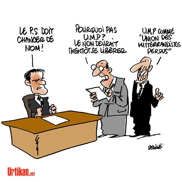 Changer le nom du PS : l'obsession de Manuel Valls - Dessin de Deligne