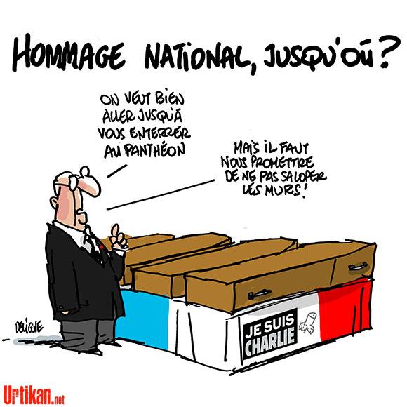 """L'appel d'Aillagon à Hollande pour les morts de """"Charlie Hebdo"""" - Dessin de Deligne"""