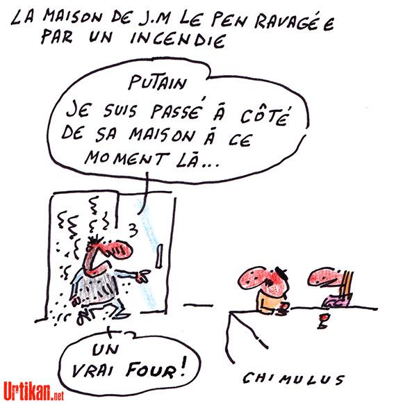 La maison de Jean-Marie Le Pen ravagée par un incendie - Dessin de Chimulus