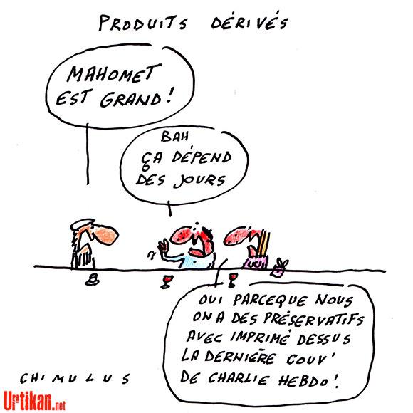 Funeste business « Je suis Charlie » sur le Web - Dessin de Chimulus