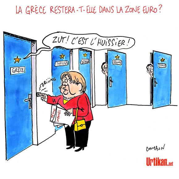 Grèce : Merkel reste ferme face à Syriza - Dessin de Cambon