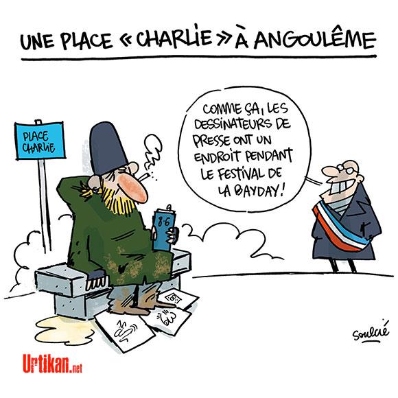 Une place Charlie dans le vieil Angoulême - Dessin de Soulcié