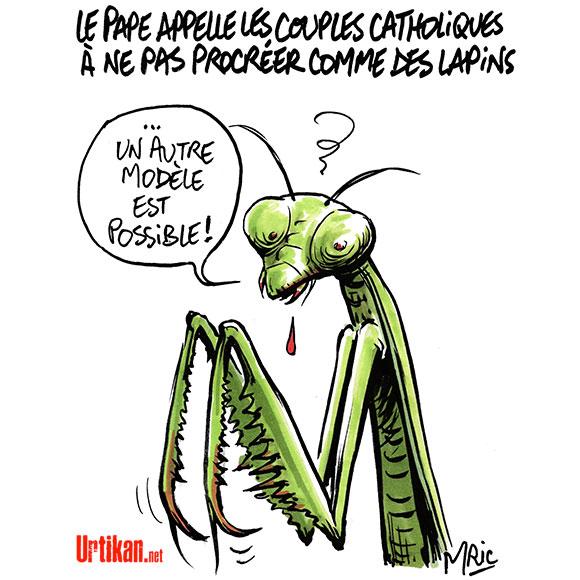 """Le pape François plaide pour """"une paternité responsable"""" - Dessin de Mric"""