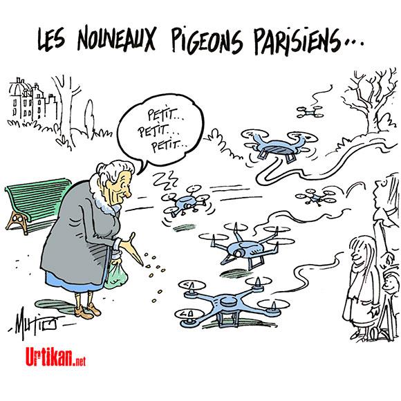 Les drones à Paris, une pratique illégale... mais banale - Dessin de Mutio