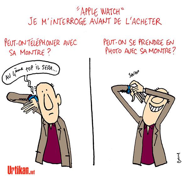 Apple invente... la montre ! - Dessin de Cambon