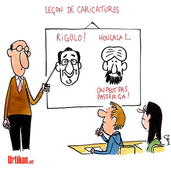 Le dessin satirique doit-il être enseigné ? - Dessin de Cambon