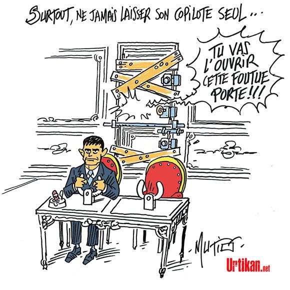 Manuel Valls garde son cap à la droite de la gauche - Dessin de Mutio