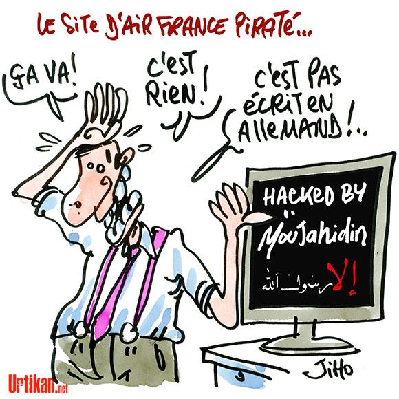 Un site d'Air France piraté - Dessin de Jiho
