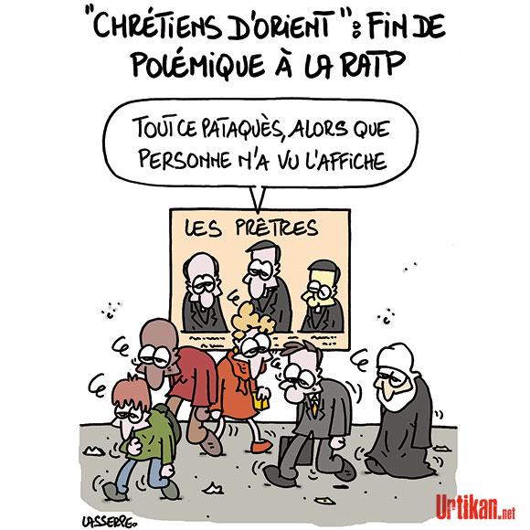 """Affiche du concert """"Les Prêtres"""" : la RATP fait machine arrière - Dessin de Lasserpe"""