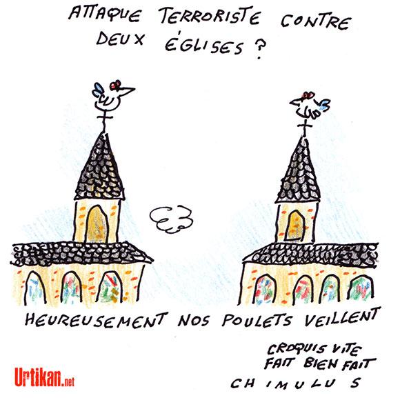France : Un attentat visant des églises déjoué - Dessin de Chimulus