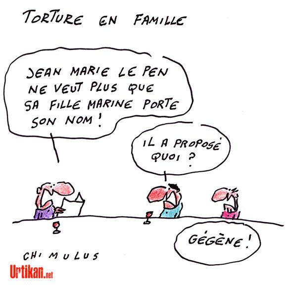 """Jean-Marie Le Pen répudie sa fille Marine : """"J'ai honte qu'elle porte mon nom"""" - Dessin de Chimulus"""