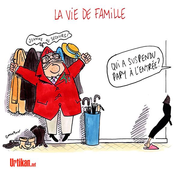 Pendant ce temps-là, chez les Le Pen - Dessin de Cambon