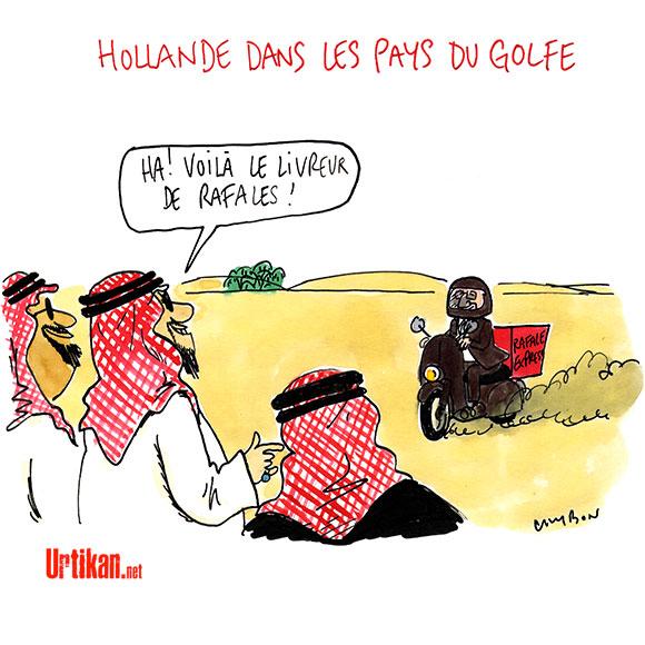 Hollande : un VRP normal - Dessin de Cambon
