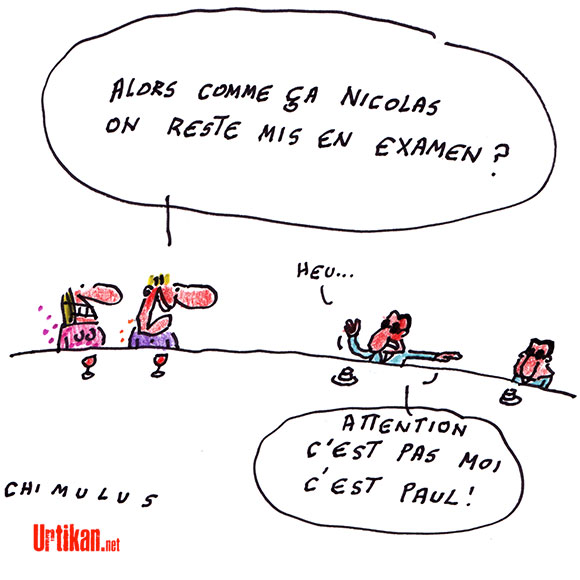 Trafic d'influence : les écoutes validées, Nicolas Sarkozy reste mis en examen - Dessin de Chimulus