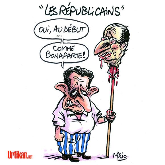 Sarkozy : un nouveau nom pour l'UMP : Les Républicains - Dessin de Mric