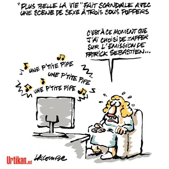 Service Public : France Télévision bientôt classé X - Dessin de Lacombe