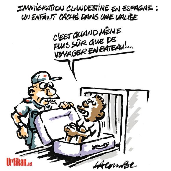 Immigration : un enfant dans une valise - Dessin de Lacombe