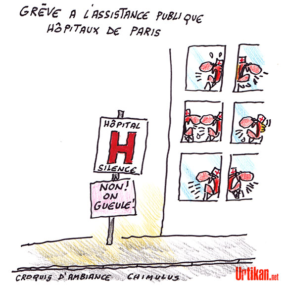 35 heures et Hôpitaux de Paris : une grève massive - Dessin de Chimulus
