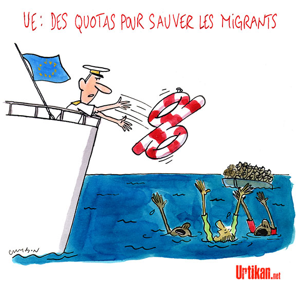 Europe : un plan d'action pour l'immigration - Dessin de Cambon