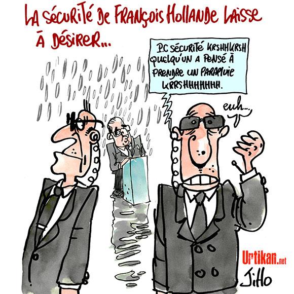 François Hollande est-il bien protégé ? - Dessin de Jiho