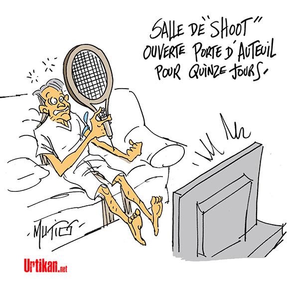 « salle de shoot » à Paris - Dessin de Mutio