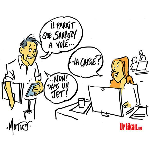 L'UMP paie 3 200 euros un Paris-Le Havre en jet à Sarkozy  - Dessin de Mutio