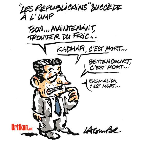 """""""UMP"""" ou """"Les Républicains"""", une seule obsession pour Sarkozy... - Dessin de Lacombe"""