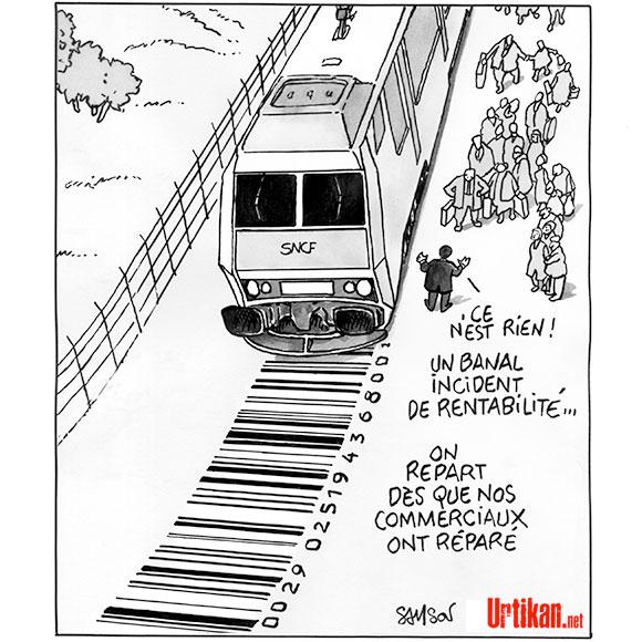 Les lignes Intercités trop coûteuses ? - Dessin de Samson