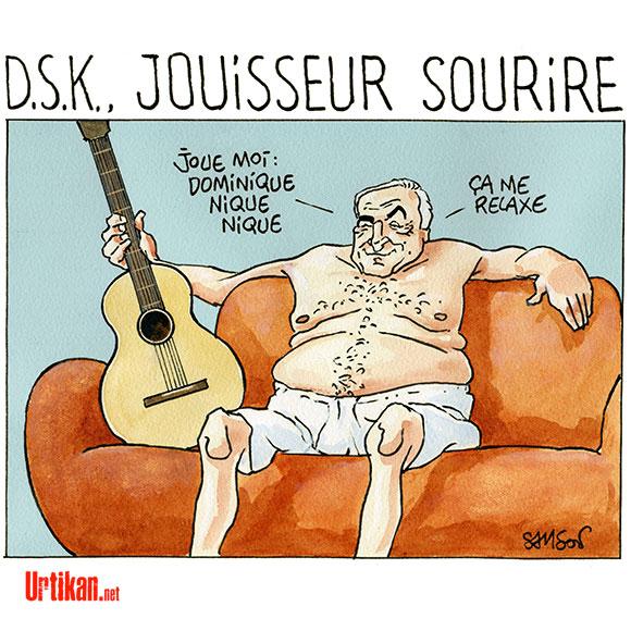 Le come-back de DSK sur... Twitter - Dessin de Samson