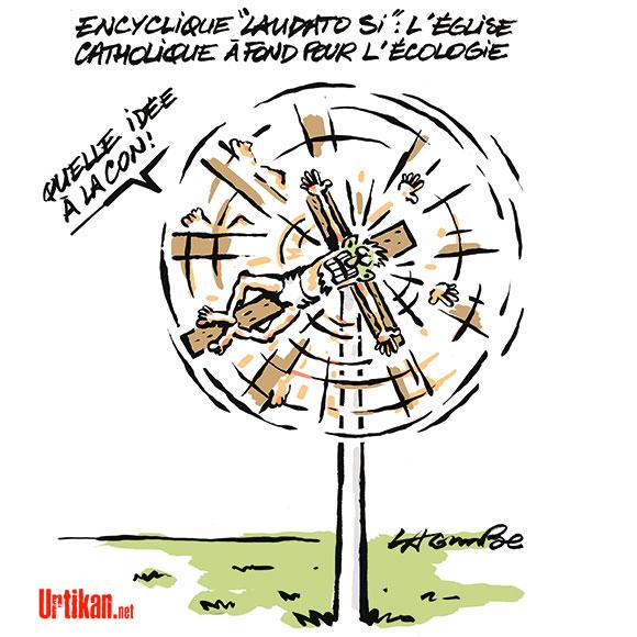 L'écologie, l'église et le vent... - Dessin de Lacombe