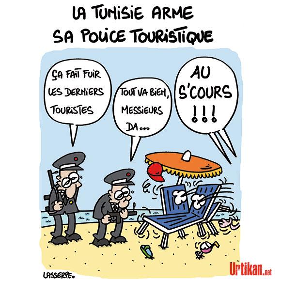 Tunisie : des mesures visant la sécurité des touristes - Dessin de Lasserpe