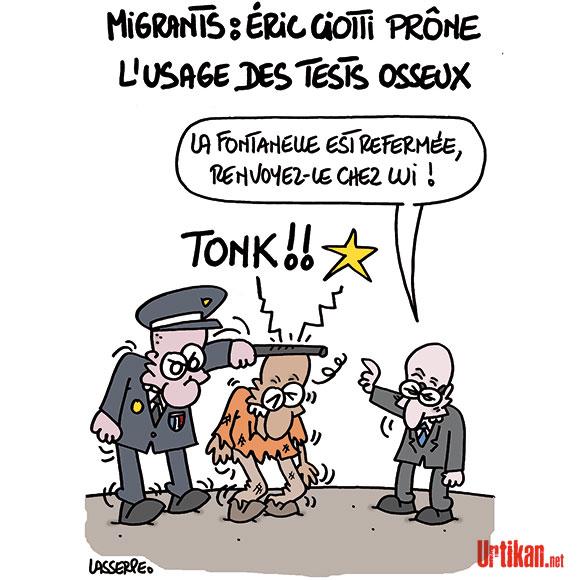 Éric Ciotti : des tests osseux pour vérifier l'âge des migrants  - Dessin de Lasserpe