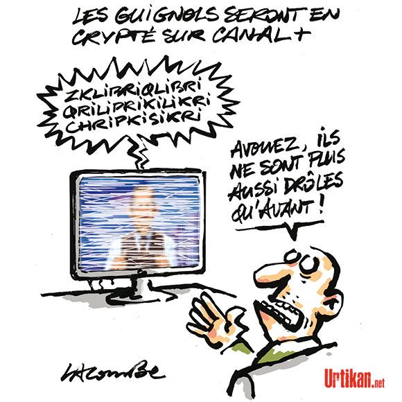 """Yves Lecoq, la voix des Guignols : """"Ils ne peuvent pas m'éjecter"""" - Dessin de Lacombe"""
