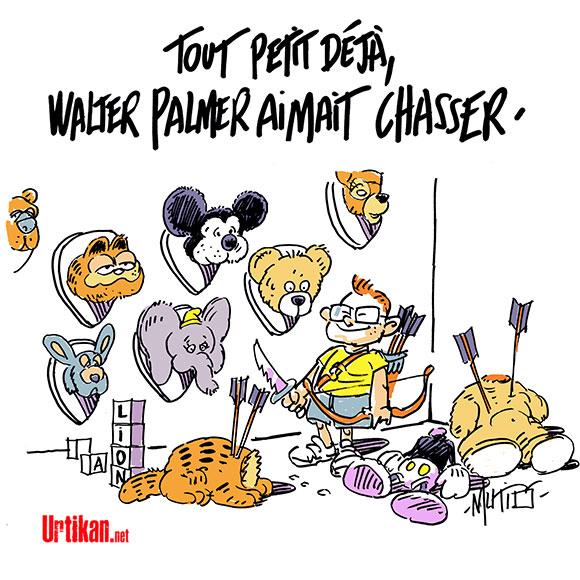 Lion Cecil  abattu par Walter Palmer  - Dessin de Mutio
