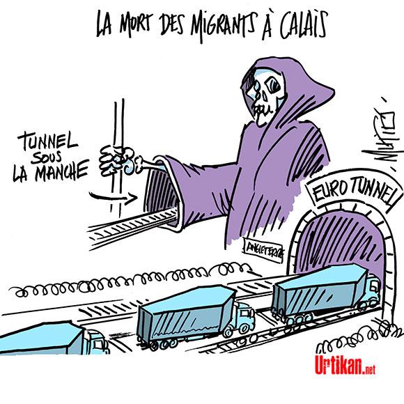 """Migrants de Calais: une"""" priorié"""" pour Paris et Londres - Dessin de Mutio"""