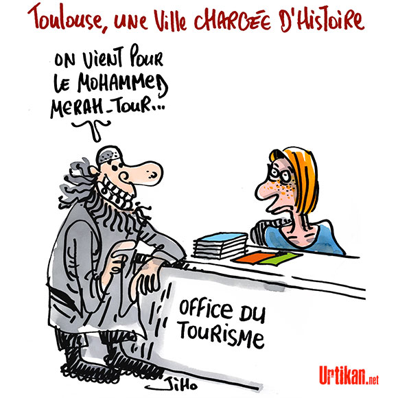 Toulouse : ville Française qui attire les touristes étrangers - Dessin de Jiho