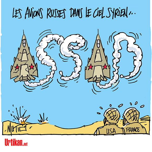 Syrie : la polémique enfle autour des frappes russes - Dessin de Mutio