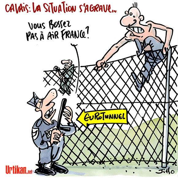Migrants et cadres d'Air France, même combat ? - Dessin de Jiho