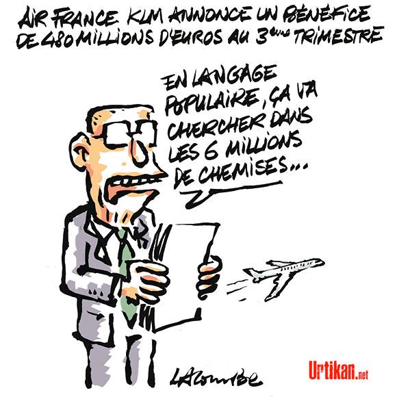 Le bénéfice s'envole mais Air France ne change pas de cap - Dessin de Lacombe